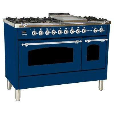 48 in. 5.0 cu. ft. Double Oven Dual Fuel Italian Range True Convection, 7 Burners, Griddle, LP Gas, Chrome Trim/Blue