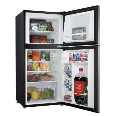 4.0 cu. ft. Mini Refrigerator with Double Door in Stainless Look