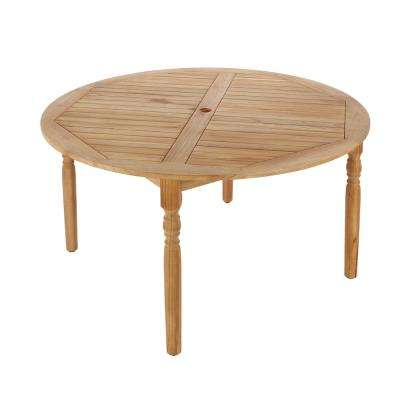 59 in. Old Town Round Teak Patio Dining Table