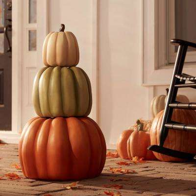 26.5 in. Fall Halloween 3-Piece Stacked Pumpkins