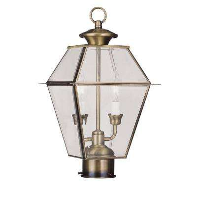2-Light Outdoor Antique Brass Post Head with Clear Beveled Glass