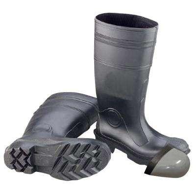 bf6658d2029 Men's Black PVC Steel Toe Waterproof Work Boots