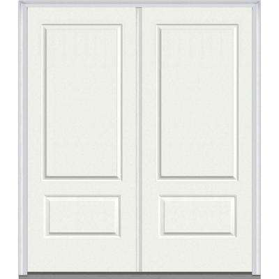 72 in. x 80 in. Right-Hand Inswing 2-Panel Classic Painted Fiberglass Smooth Prehung Front Door
