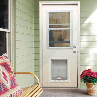 36 in. x 80 in. Classic Clear Vented Half Lite LHIS White Primed Fiberglass Prehung Front Door with SL Pet Door