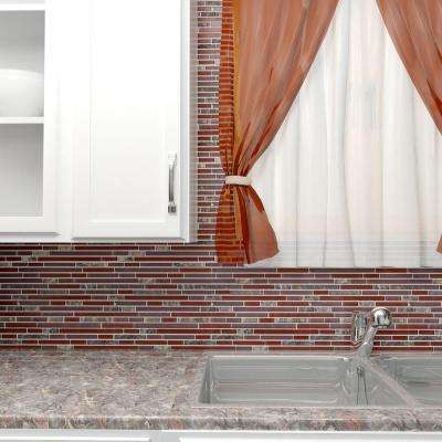 Tessera Piano Bordeaux 11-3/4 in. x 11-7/8 in. x 8 mm Glass and Stone Mosaic Tile