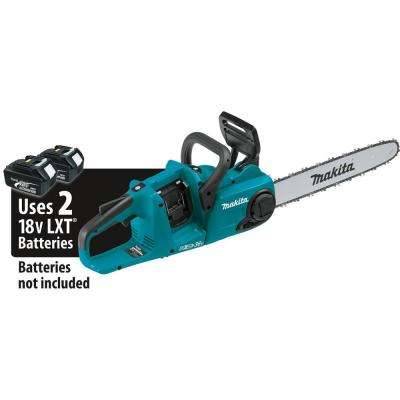 16 in. 18V Brushless Electric Chainsaw and 18V X2 LXT Brushless String Trimmer with bonus 18V LXT Starter Pack