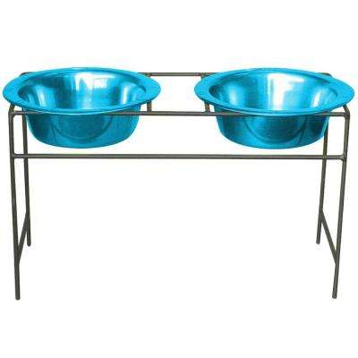 2 Cup Wrought Iron Modern Diner Dog Stand with Extra Wide Rimmed Bowls in Teal