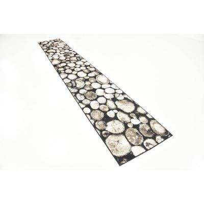 Metro River Rocks Black 2' 0 x 13' 0 Runner Rug