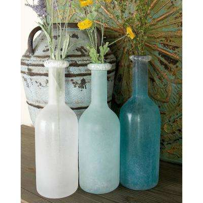 15 in. Polished Frosted Blue, Turquoise and White Glass Decorative Vases (Set of 3)