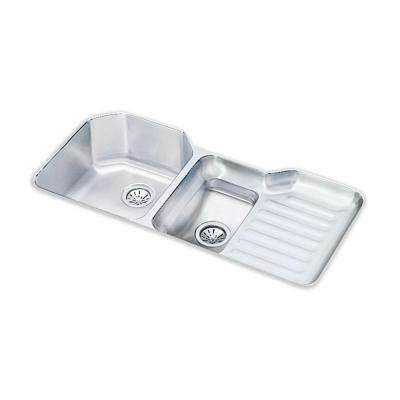 Lustertone Undermount Stainless Steel 41.5 in. Double Bowl Kitchen Sink
