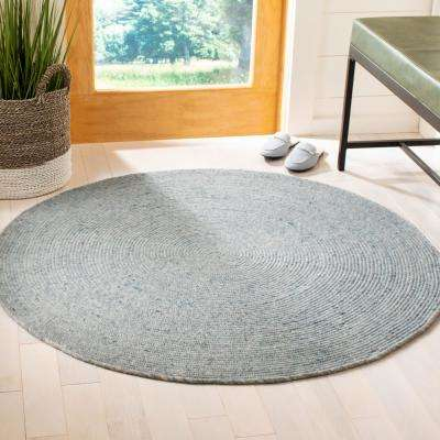 Braided Turquoise 5 ft. x 5 ft. Round Area Rug