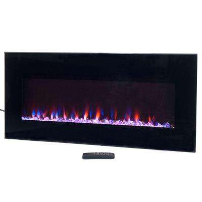 36 in. LED Fire and Ice Electric Fireplace with Remote in Black
