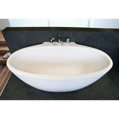 Sensuality Mini-Wall 5.54 ft. AquateX Double Ended Flatbottom Non-Whirlpool Bathtub in White