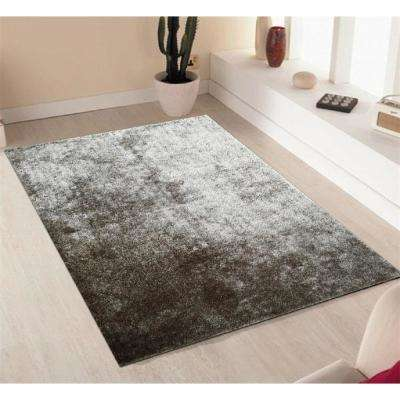 """""""Fuzzy Shaggy"""" Hand Tufted Area Rug in Silver (8-ft x 11-ft)"""
