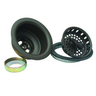 3-1/2 in. Wing Nut Locking Style Basket Strainer with Nut and Washer in Oil Rubbed Bronze