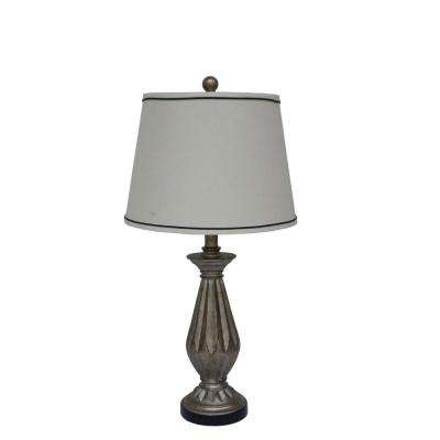 26 in. Antique Silver Resin Table Lamp