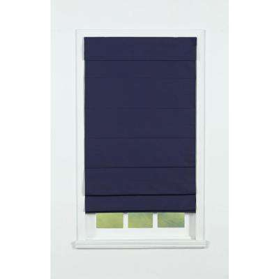 Navy Insulating Cordless Cotton Roman Shade - 32 in. W x 72 in. L