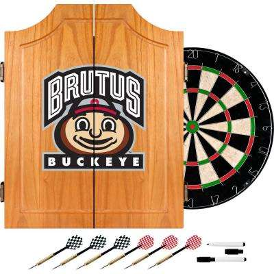 Ohio State University Brutus Buckeye Wood Finish Dart Cabinet Set