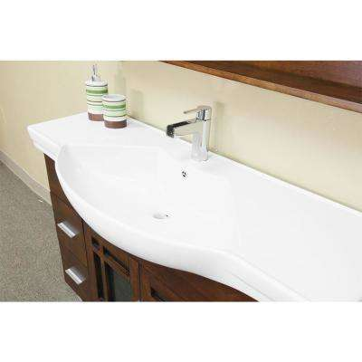 Ben 48 in. W x 18.9 in. D Single Bath Vanity in Walnut with Ceramic Top in White with White Basin