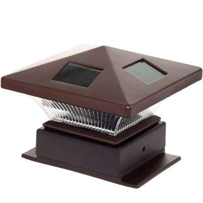 4 in. x 4 in. Pagoda II Solar Powered Integrated LED Bronze Plastic Post Cap Light