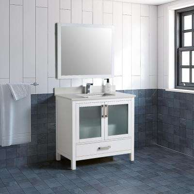 21 in. W x 34 in. D Vanity with Vanity Top in White with White Basin