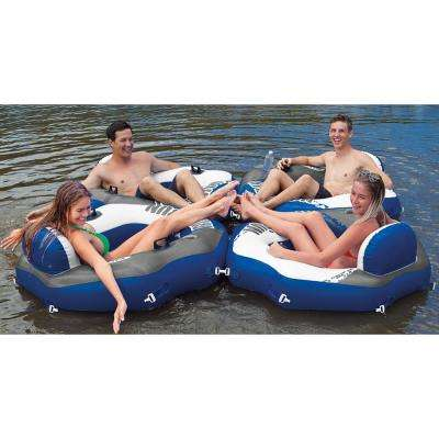 River Run Connect Pool Lounge Inflatable Floating Water Tube (6-Pack) and Cooler