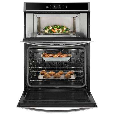 30 in. Smart Combination Wall Oven with Touchscreen in Black on Stainless Steel