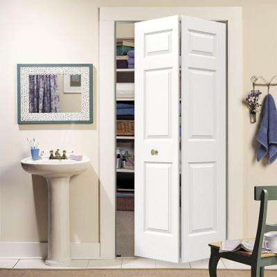 30 in. x 80 in. Colonist White Painted Textured Molded Composite MDF Closet Bi-fold Door