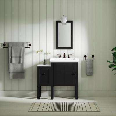 Chambly 12 in. Vanity Bridge in Black Forest with Vanity Top in Stone