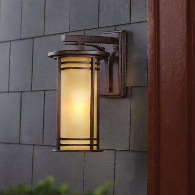 15 in. 1-Light Bronze Outdoor Wall Lantern Sconce with Amber Glass