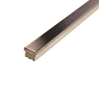 Alloy Stick Copper 3/8 in. x 5-3/4 in. Stainless Steel Over Porcelain Wall Trim Tile (0.08 sq. ft. / pack)