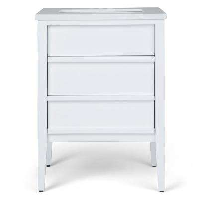 Russo 24 in. W x 21.5 in. D Bath Vanity in White with Marble Extra Thick Vanity Top in White Veined with White Basin