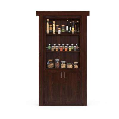 32 in. x 80 in. Flush Mount Assembled Forward Pantry Door Cherry Dark Stained Left-Hand Inswing