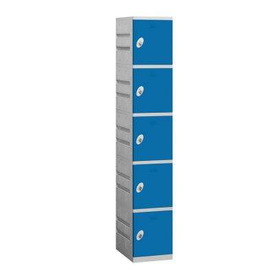 95000 Series 12.75 in. W x 74 in. H x 18 in. D 5-Tier Plastic Lockers Assembled in Blue