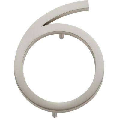Modern Avalon Collection 4.5 in. Brushed Nickel Number 6