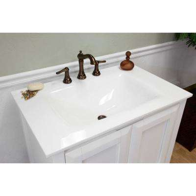 Avenal 33.5 in. W x 21.5 in. D Single Vanity in White with Phoenix Stone Vanity Top in White with White Basin