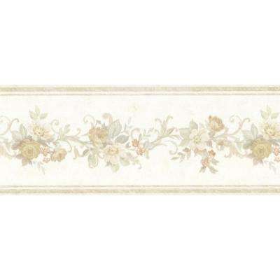 Lory Taupe Floral Wallpaper Border Sample