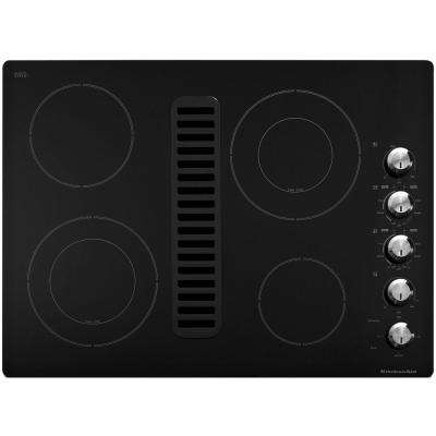 30 in. Downdraft Vent Ceramic Glass Electric Cooktop in Black with 4 Elements including Double-Ring Elements