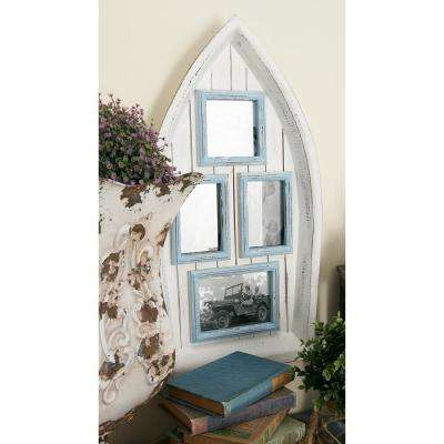 4-Opening Cream and Sky Blue Boat Picture Frame