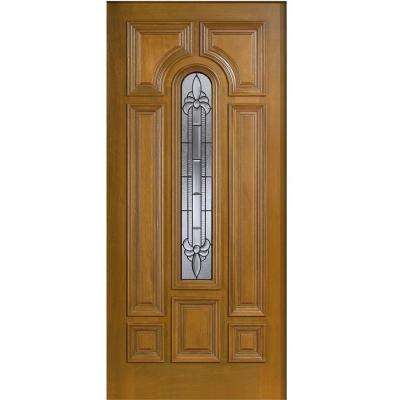36 in. x 80 in. Mahogany Type Arch Glass Prefinished Golden Oak Beveled Patina Solid Stained Wood Front Door Slab