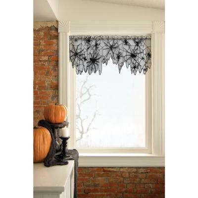 Creepy Crawly 60 in. L Polyester Valance in Black