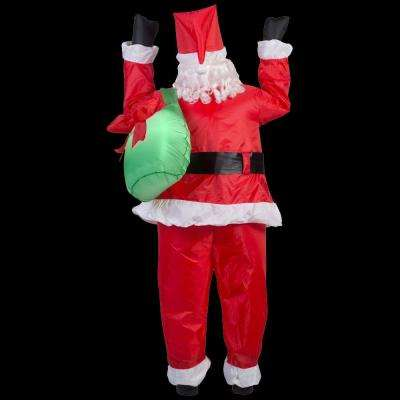 35.83 in. W x 30.71 in. D x 77.95 in. H Realistic Inflatable-Santa Hanging From Roof with Gift Sack