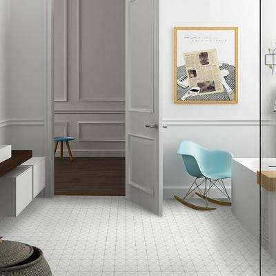 Tre Crossover Matte White 10-1/8 in. x 10-1/8 in. x 6 mm Porcelain Mosaic Tile (7.3 sq. ft. / case)