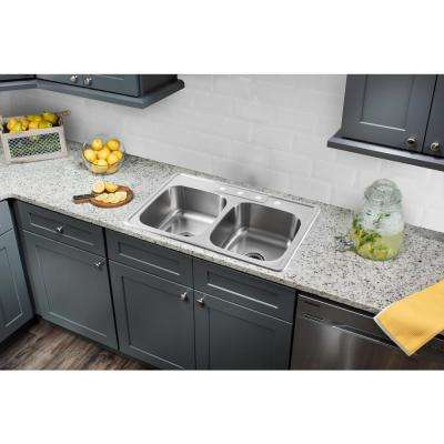 Drop-In 33 in. 4-Hole Stainless Steel Double Bowl Kitchen Sink in Brushed Stainless with Gooseneck Faucet