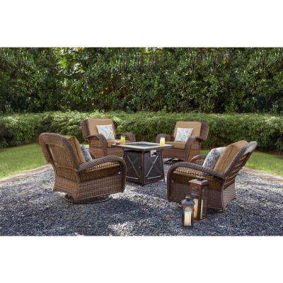 Beacon Park Brown Wicker Outdoor Patio Swivel Lounge Chair with Standard Toffee Trellis Tan Cushions
