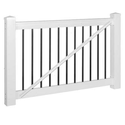 Bellaire 3 ft. H x 60 in. W White Vinyl with Round Black Aluminum Spindles Gate Railing Kit