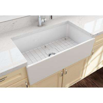 Contempo Farmhouse Apron Front Fireclay 33 in. Single Bowl Kitchen Sink with Bottom Grid and Strainer in White
