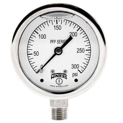 PFP Series 2.5 in. Stainless Steel Liquid Filled Case Pressure Gauge with 1/4 in. NPT LM and Range of 0-300 psi