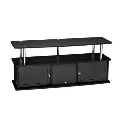 Designs2Go TV Stand with 3 Cabinets in Black