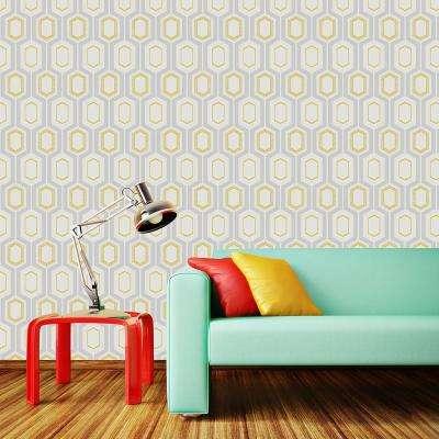 56.4 sq. ft. Mortimer Yellow Geometric Wallpaper